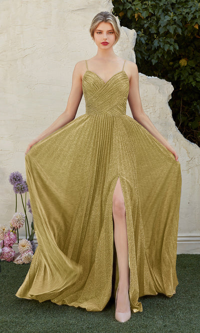 Cinderella Divine CJ534 long gold metallic evening dress with v neck, pleated skirt and straps. Plus sizes available.jpg
