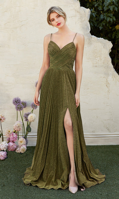 Cinderella Divine CJ534 long green metallic evening dress with v neck, pleated skirt and straps. Plus sizes available.jpg
