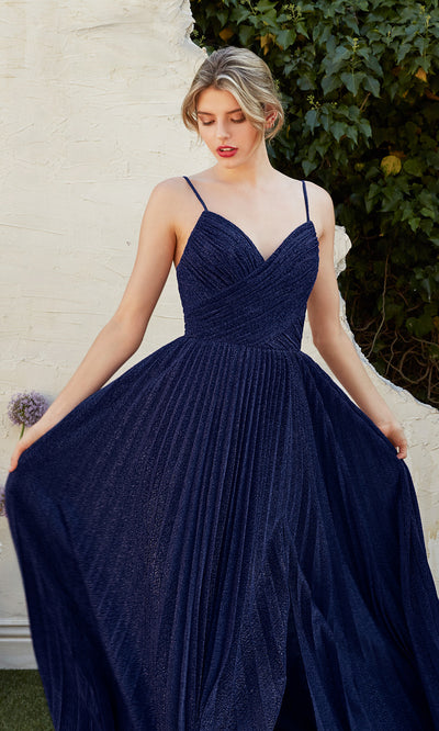 Cinderella Divine CJ534 long navy blue metallic evening dress with v neck, pleated skirt and straps. Plus sizes available.jpg