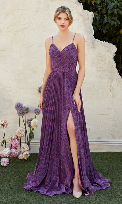 Cinderella Divine CJ534 long purple metallic evening dress with v neck, pleated skirt and straps. Plus sizes available.jpg