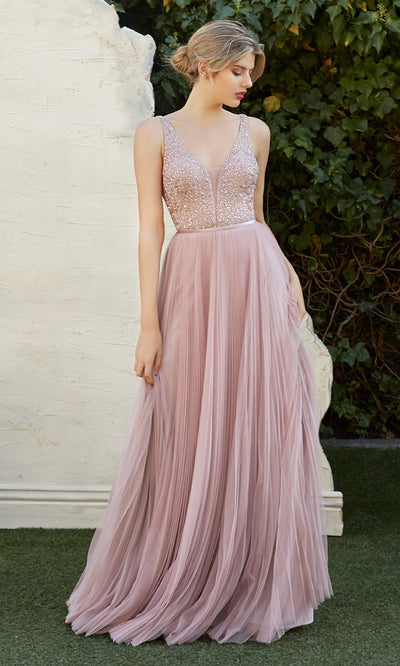 Cinderella Divine CJ535 long dusty rose pink dress with flowy skirt, sequin beaded top, wide straps. Plus sizes available-1.jpg