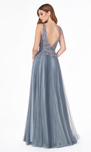Cinderella Divine CJ536 long dusty blue or smoky blue dress with v neck, wide straps, pleated skirt & lace top. Plus sizes available. Back image is showing.jpg