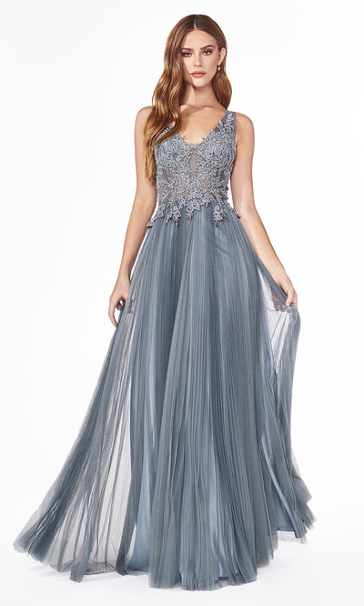 Cinderella Divine CJ536 long dusty blue or smoky blue dress with v neck, wide straps, pleated skirt & lace top. Plus sizes available.jpg