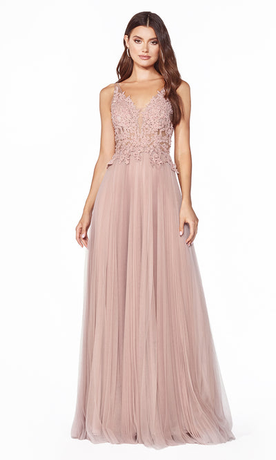 Cinderella Divine CJ536 long dusty rose dress with v neck, wide straps, pleated skirt & lace top. Plus sizes available-1.jpg