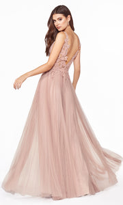 Cinderella Divine CJ536 long dusty rose dress with v neck, wide straps, pleated skirt & lace top. Plus sizes available. Back image is showing.jpg