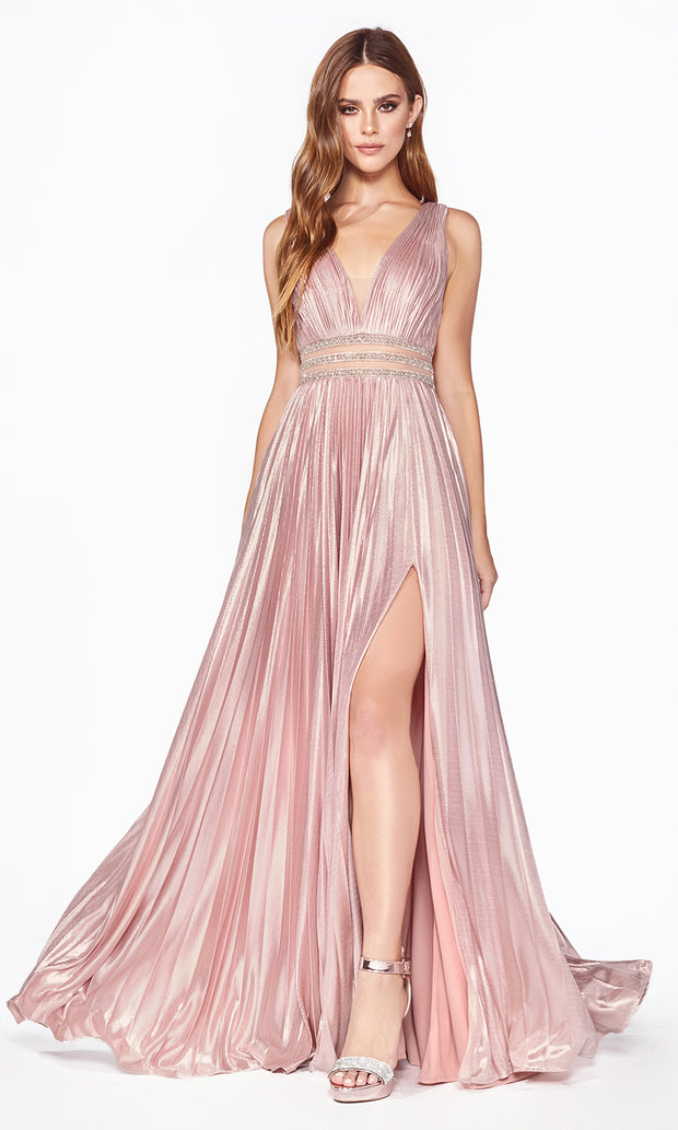 Cinderella Divine CJ537 long blush satin v neck dress with pleated skirt, wide straps & high slit. Plus sizes available