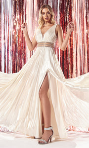 Cinderella Divine CJ537 long champagne satin v neck dress with pleated skirt, wide straps & high slit. Plus sizes available