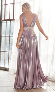 Cinderella Divine CJ537 long mauve pink satin v neck dress with pleated skirt, wide straps & high slit. Plus sizes available. Back of image is showing