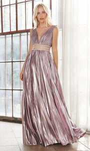 Cinderella Divine CJ537 long mauve pink satin v neck dress with pleated skirt, wide straps & high slit. Plus sizes available