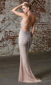 Cinderella Divine CK920 long fitted sequin beaded dress with open back. Back of dress.jpg