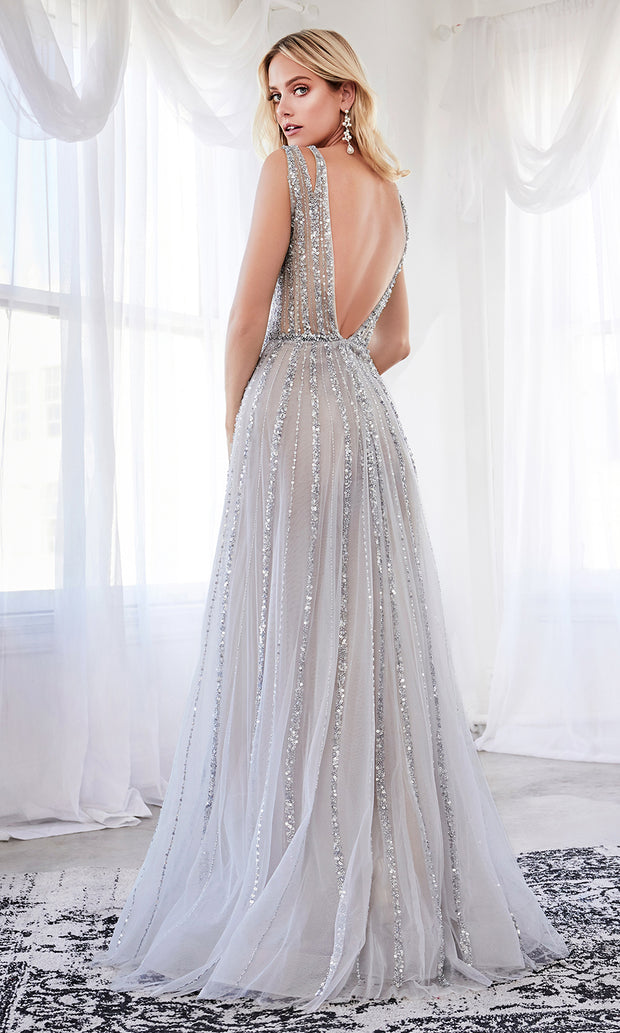 Cinderella Divine CK935 long blue sequing beaded flowy dress with wide straps and v neckline. Back of dress  is showing
