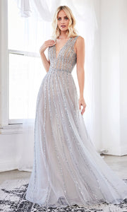 Cinderella Divine CK935 long blue sequing beaded flowy dress with wide straps and v neckline