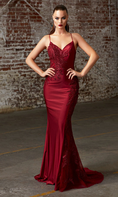 Cinderella Divine CM311 long burgundy red fitted dress with open back, high slit, and lace sides-1.jpg