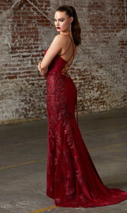 Cinderella Divine CM311 long burgundy red fitted dress with open back, high slit, and lace sides.jpg