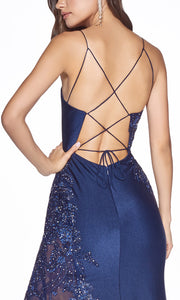 Cinderella Divine CM311 long navy blue fitted dress with open back, high slit, and lace sides. Closeup of back of dress.jpg