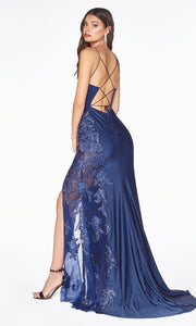 Cinderella Divine CM311 long navy blue fitted dress with open back, high slit, and lace sides. Side of dress is showin.jpg