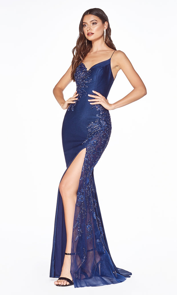 Cinderella Divine CM311 long navy blue fitted dress with open back, high slit, and lace sides.jpg