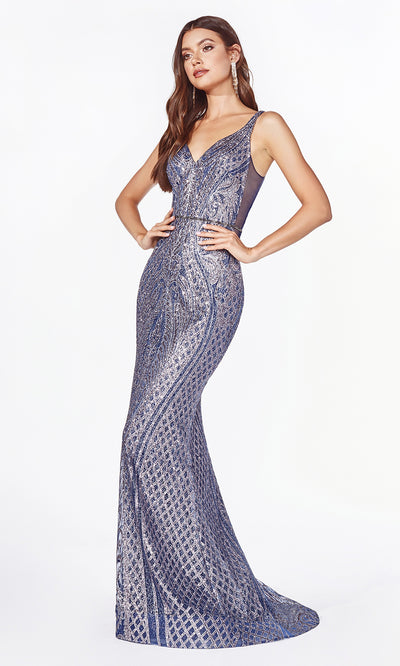 Cinderella Divine CM9014 long fitted metallic dark grey mermaid dress-2.jpg