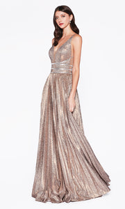 Cinderella Divine CM9061 long v neck copper gold metallic dress with v neck, wide straps. Plus sizes available-1.jpg
