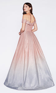 Cinderella Divine CR839 long off  shoulder metallic dress with flowy skirt. Back of dress is showing.jpg