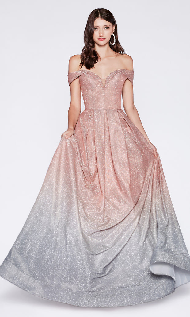 Cinderella Divine CR839 long off  shoulder metallic dress with flowy skirt