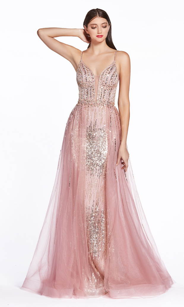 Cinderella Divine CR841 long rose gold sequin dress with skirt overlay