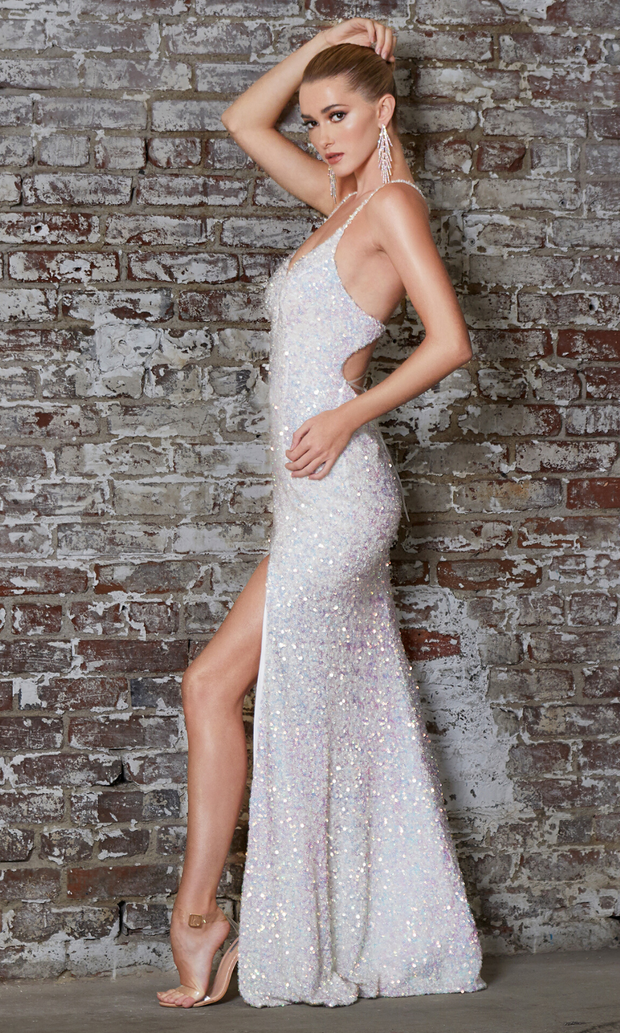Cinderella Divine CR848 long white sequin dress with high slit and open back