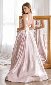 Cinderella Divine CR850 Long blush pink metallic dress-back