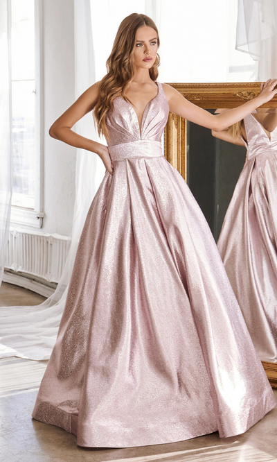 Cinderella Divine CR850 Long blush pink metallic dress