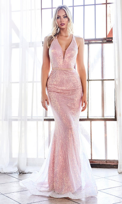 Cinderella Divine CW948 long sequin beaded open back dress