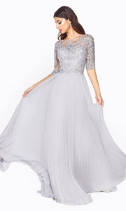 Cinderella Divine HT090 long sleeve grey modest dress