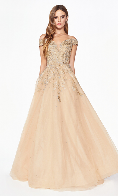 Cinderella Divine KV1049 long off shoulder dress