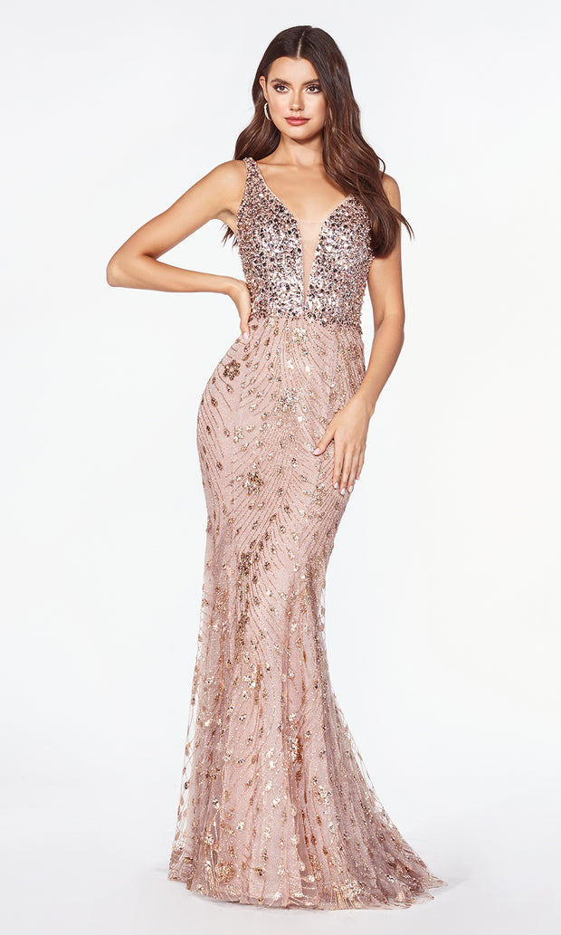 Cinderella Divine cm9170 long rose gold sequin beaded mermaid dress.jpg