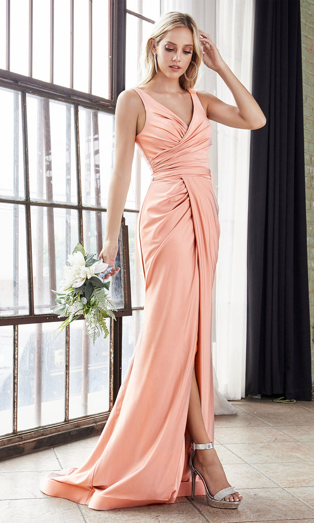 Cinderella Divine C81730 long blush pink sleek & sexy v neck simple dress w/high slit & straps. Fitted pink dress is perfect for bridesmaid dresses,prom, indowestern gown, wedding reception/engagement dress, formal wedding guest dress Plus sizes