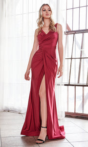 Cinderella Divine C81730 long wedding dress sleek & sexy v neck simple dress w/high slit & straps. Fitted burgundy wedding dress is perfect for bridesmaid dresses,prom, indowestern gown, wedding reception/engagement dress, formal wedding guest dress.Plus sizes avail