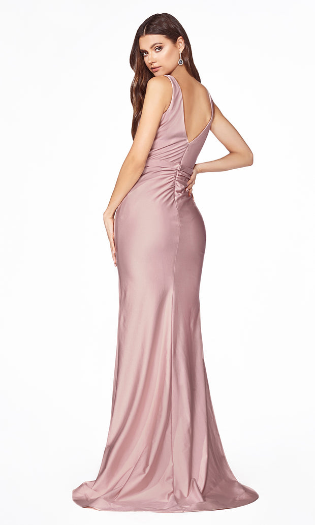 Cinderella Divine C81730 long dusty rose sleek & sexy v neck simple dress w/high slit & straps. Fitted dusty rose wedding dress is perfect for bridesmaid dresses,prom, indowestern gown, wedding reception/engagement dress, formal wedding guest dress.Plus sizes available
