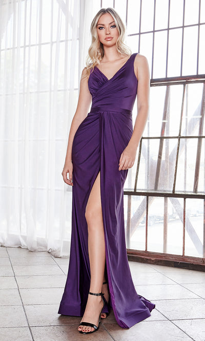 Cinderella Divine C81730 long eggplant sleek & sexy v neck simple dress w/high slit & straps. Fitted egg plant wedding dress is perfect for bridesmaid dresses, prom, indowestern gown, wedding reception engagement dress, formal wedding guest dress.Plus sizes available