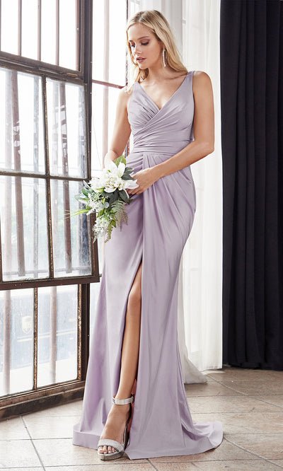 Cinderella Divine C81730 long purple sleek & sexy v neck simple dress w/high slit & straps. Fitted purple wedding dress is perfect for bridesmaid dresses, prom, indowestern gown, wedding reception engagement dress, formal wedding guest dress.Plus sizes available