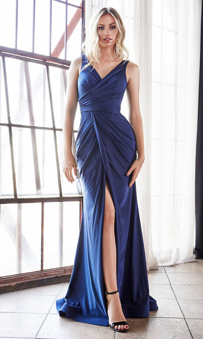 Cinderella Divine C81730 long navy blue wedding dress sleek & sexy v neck simple dress w/high slit & straps. Fitted navy blue wedding dress is perfect for bridesmaid dresses, prom, indowestern gown, wedding reception engagement dress, formal wedding guest dress.Plus sizes available