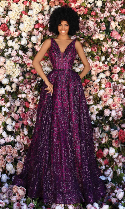 Clarisse - 800309 Sequin-Ornate A-Line Gown In Purple