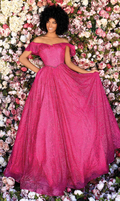 Clarisse - 800313 Off Shoulder Glitter A-Line Gown In Pink