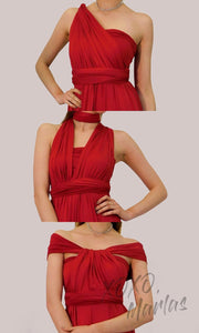 Long red infinity bridesmaid dress or multiway dress or convertible dress.One dress worn in multiple ways.This red one size dress is great for bridesmaid, prom, destination wedding, gala, cheap western party dress, semi formal, cocktail, gala, formal