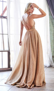 Cinderella Divine CW167 long rose gold flowy metallic dress with low back