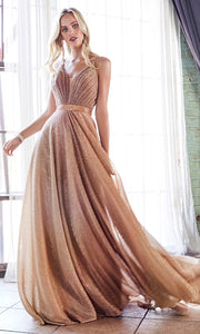Cinderella Divine CW167 long rose gold flowy metallic dress