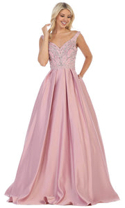 May Queen - MQ1632 Beaded V-Neck A-Line Gown In Mauve