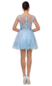 Dancing Queen - 2153 Illusion Neckline Lace Bodice A-Line Dress In Blue