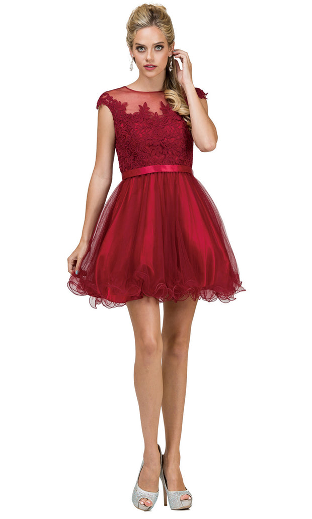 Dancing Queen - 2153 Illusion Neckline Lace Bodice A-Line Dress In Burgundy