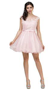 Dancing Queen - 2153 Illusion Neckline Lace Bodice A-Line Dress In Pink