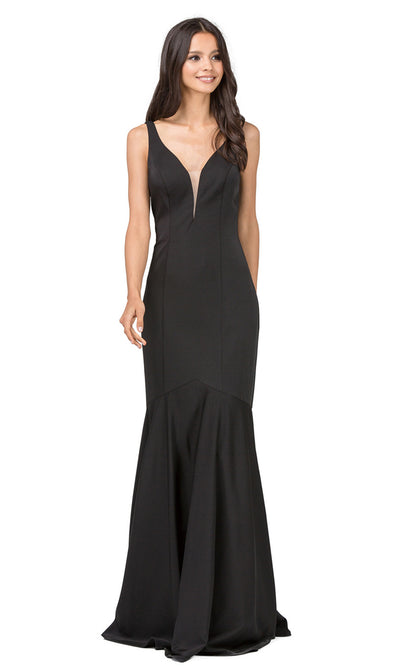 Dancing Queen - 2186 Illusion Plunging Neck Drop Waist Mermaid Dress In Black