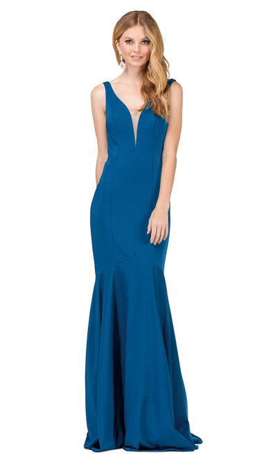 Dancing Queen - 2186 Illusion Plunging Neck Drop Waist Mermaid Dress In Blue